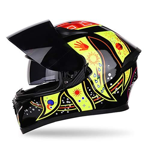Qianliuk Motorrad-Motorrad-Helm Erwachsene Persönlichkeit Dazzling Full Face Helm Anti-Fog Double Lens Helm Motorcross Helme 53-62CM
