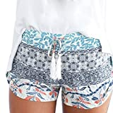 MOIKA Damen Hot Pants Sommer Shorts Hohe Taille Kurze Hosen Casual Hose Freizeithose Hosenrock Leichte in Viele Muster (M,Blau)