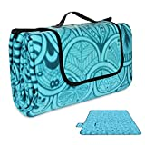 Konesky 200 x 200cm XXL Picknickdecke Fleece Wasserdicht Campingdecke Stranddecke Wärmeisoliert mit Tragegriff für Picknicks, Camping - Blau