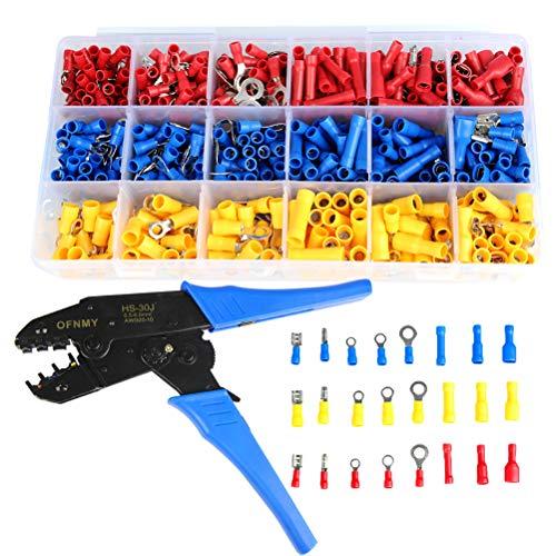 OFNMY Crimpzangen-Set 700teilig Crimpwerkzeug Steckverbinder Quetschverbinder Sortiment 0,5-6mm² für isolierte Kabelschuhe