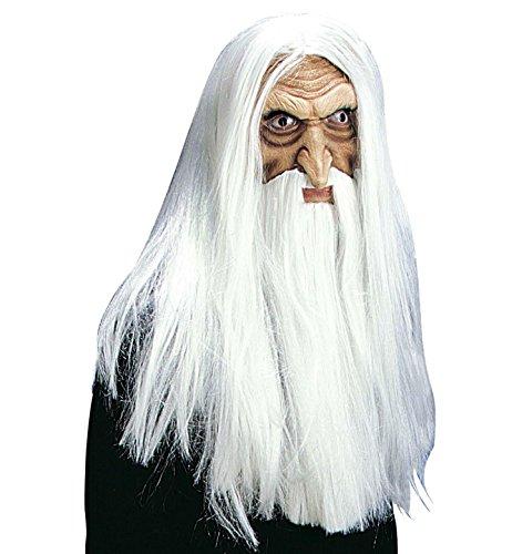 Zauberer Halloween Maske mit Haaren und Bart Magier