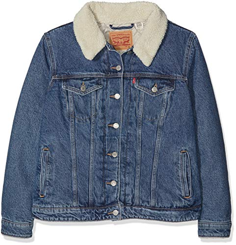 Levi's plus size pl sherpa trucker, giacca in jeans donna, blu (extreme wearable 0002), x-large