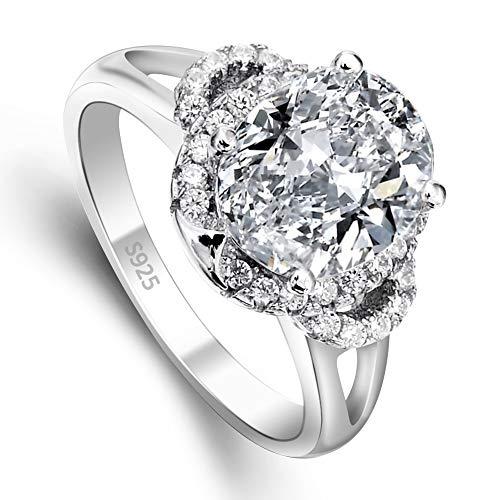 EVER FAITH® 925 Sterling Silber Vintage Stil Oval CZ Engagement Ring - Größe 52 (16.6) N06647-1