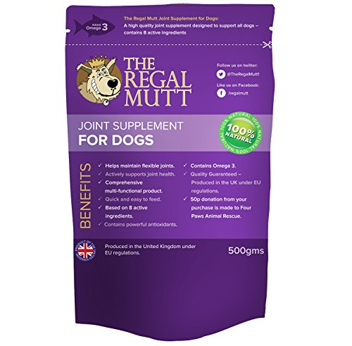 The Regal Mutt – Joint Supplement for Dogs, 500g ☆ 1 Pack Provides 100 Scoops ☆ 50p Charity Donation to Four Paws Animal Rescue ☆ 100% Natural Nutritional Supplement ☆ Helps Maintain Flexible Joints & Actively Supports Joint Health ☆ Contains Powerful Antioxidants ☆ 100% Money Back Guarantee