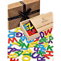 Jaques of London - WOODEN Magnetic Alphabet Letters - Wooden (PLASTIC FREE) Fridge Magnets for Kids - They are Perfect Montessori Educational Toys - Wooden Toys for Kids since 1795
