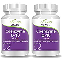 Natures Velvet Lifecare Coenzyme Q-10 100mg, for Heart Health & Energy Metabolism, 60 Softgels - Pack of 2