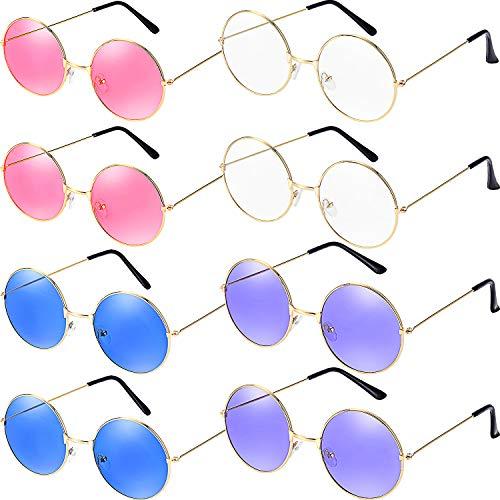 Bememo 8 Paare Runde Hippie Sonnenbrillen Retro Party Sonnenbrillen John 60's Stil Kreis Gläser für Party Prop Gefälligkeiten, Dekorationen, Spielzeug Geschenke