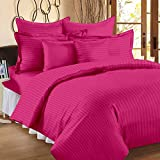 Ahmedabad Cotton 300 TC Sateen Double Duvet Cover with 2 Pillow Covers - Striped, Hot Pink