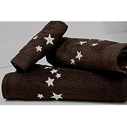 Juego de Toallas Bordadas Cuadros 3 piezas 550gr BIG STARS 3P. Nº14 (Chocolate)