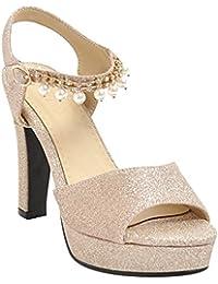 MissSaSa Donna Sandali col Tacco Alto Moderno Fashion (34, oro)