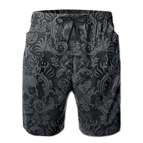 ZKHTO Men's Swim Trunks Black Skull Damask Board Beachwear Casual Beach Shorts for Men,Shorts Size XL - Under Armour Graphic T-shirt Baseball