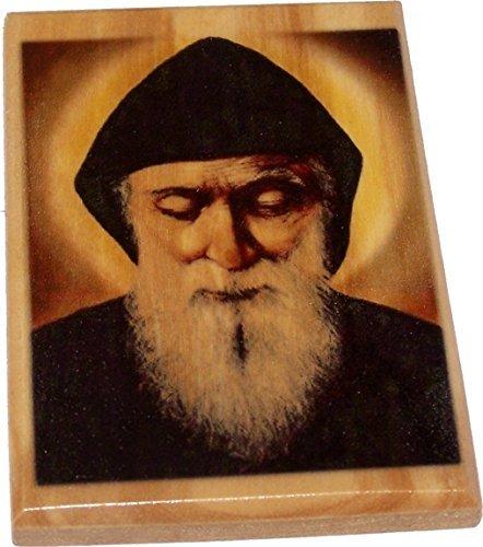 Heiligen Land Markt Mar scharbel machluf (A Maronitischen berühmten katholischen Saint) Magnet-Olivenholz (7x 5cm Oder 7,1x 5,1cm)