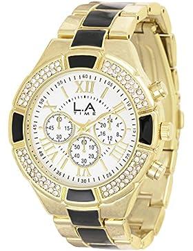 LA Time Damen-Armbanduhr Analog Quarz Edelstahl beschichtet LA016L