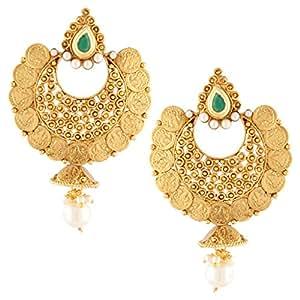 Dancing Girl South Indian Temple Green Metal Alloy Jhumki Earrings For Women