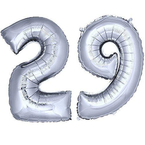 DekoRex® 29 als Heliumballon Folienballon Luftballon Zahlenballon Jahrestag Geburtstag in Silber 120cm hoch 29 Formen