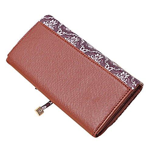 Sasairy RFID Blocco Portafoglio Donna in Pelle Sintetica Multi Card raccoglitore dell'organizzatore con Pocket Zipper-Marrone chiaro Retro modello retrò marrone