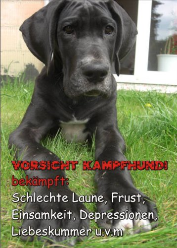 Hund Dogge Tür (INDIGOS UG - Türschild FunSchild - SE434 - ACHTUNG Hund Deutsche Dogge - für Käfig, Zwinger, Haustier, Tür, Tier, Aquarium - DIN A4 PVC 3mm stabil)
