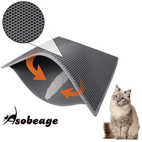 Asobeage Katzenklo Matte 76 X 61cm, Katzenstreu Matte Katzenklo Unterleger Waben Design Katzenklo...