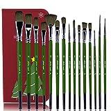 Pennelli per artisti set-15 pennelli di Alta qualità, Olio e Tempera di Diverse Dimensioni Forma di pennelli multifunzionali (Punta Rotonda, angolata, ventaglio, Nocciola)