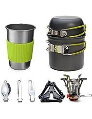 11pcs que acampa kit de cocina - Odoland portátil portátil de utensilios de cocina, ideal para mochilero, camping al aire libre senderismo y picnic