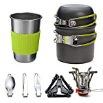 Odoland Camping Cookware Kit with Stove, Outdoor Cooking Set Non Stick Pot and Pans Lightweight Backpacking Hiking Utensil Gear for 1 to 2 People Traveling Trekking and Camping 3