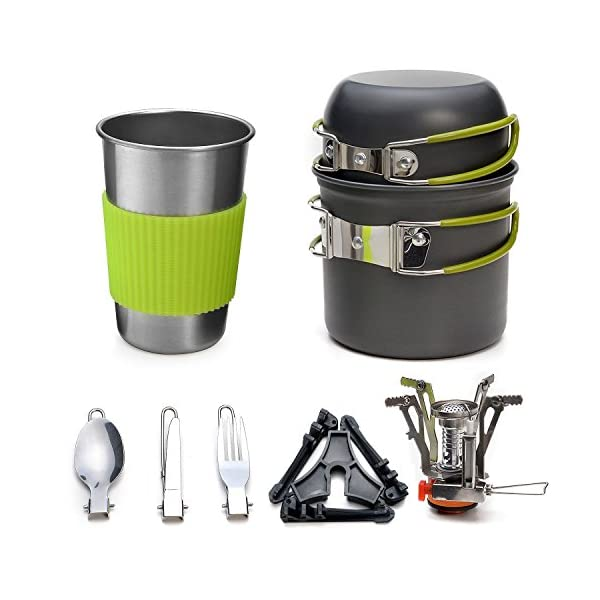 Odoland Camping Cookware Kit with Stove, Outdoor Cooking Set Non Stick Pot and Pans Lightweight Backpacking Hiking Utensil Gear for 1 to 2 People Traveling Trekking and Camping 1