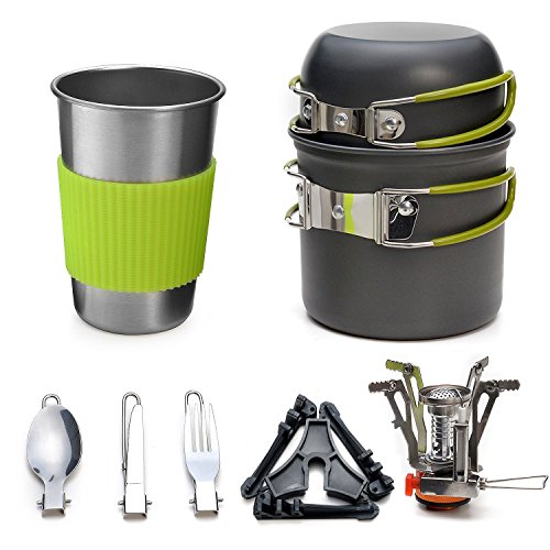 11-Pieces Camping Cookware Kit – ODOLAND Pot Set, incl. Cutlery Stove, Tank Bracket, Ultralight, Insulating Handles, Non-Stick for 1 Person – Outdoor Picnic Tent Camping, Fishing, Hiking