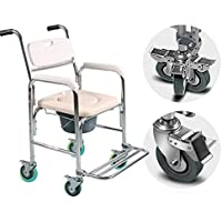 ZJBDQ Mujeres mayores móvil cómoda silla móvil de aluminio de la ducha sillas COMODA silla, inodoro y ducha