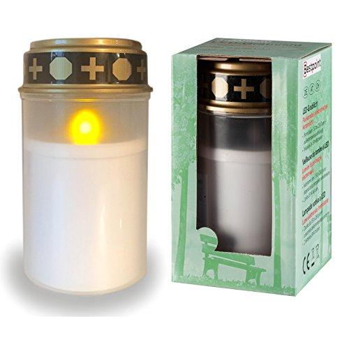 Bestpoint LED-Grablicht weiß mit Batterie | Lange Leuchtdauer von 6 Monaten | LED-Grabkerze mit realistischem Flackereffekt | Wind- und Wetterfest | 30 Tage Geld zurück