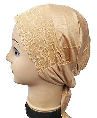 Cwen Collection Hijab LACE RHINESTONE TIE BACK Bonnet Women Cap Under Scarf Hat Stole Kitchen Pregnancy Hair Head Cover