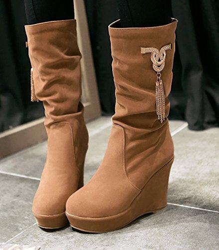 Aisun Femme Classique Chaussures Compensées Franges Mollet Bottes Taupe
