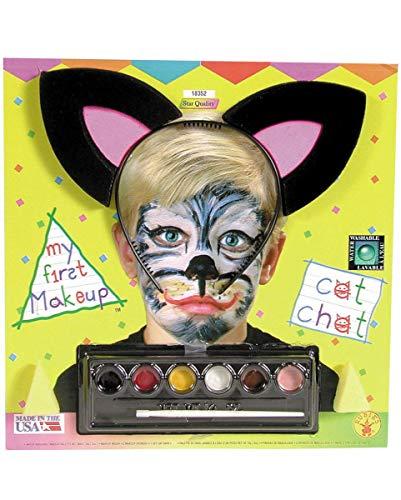 Horror-Shop Kinder Katzen Make-Up Kit mit Katzenohren für Fasching & Halloween (Kinder Katze Halloween-make-up Für)