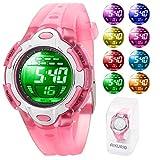 Kinder Digital Uhren für Jungen Mädchen 50M Wasserdicht mit 8 Farben LED-Leuchten für Sport im Freien (Rosa)