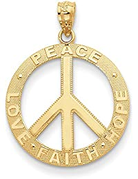 a66633bfc5ce Lex   LU 14 K Gelb Gold Peace HOPE FAITH LOVE PEACE Zeichen