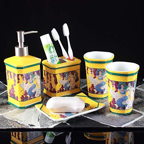 Zimmer Sanitizer (T-WYTZ Badezimmer-Set Hotel Bad fünf Stück Hochzeitskleid Hand Sanitizer Flasche Zahn Tasse Keramik Gold)