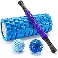 Finether-Rodillo de Espuma para Masaje Muscular Foam Roller Kit de Masajeador Bola de Masaje Rodillo de Palo para Masaje, Azul