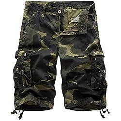 AYG Bermudas Cargo Shorts Hombres Pantalones Cortos Leisure Casual 29-40, A083 army green, W29(ES 38)/29'Cintura