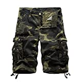Sunshey Cotton Casual Mens Twill Cargo Shorts Pants Summer Fashion Sports Beach Travel Pockets Camouflage Shorts (40, A083 Army Green)