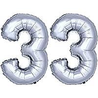 DekoRex® número globo decoración cumpleaños brillante para aire en argentado 40cm de alto No. 33