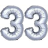 DekoRex Folienballon Zahlenballon Luftballon Geburtstag Deko 80cm Zahl Silber 33