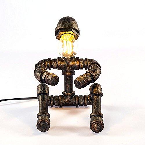 HONGOU Eisen Tischlampe Steampunk Vintage Wasserrohr Tisch-Licht E27 Edison Wohnzimmer Schlafzimmer Leselicht Lernlampe Dekoration Lampe Retro Kleine Tischleuchte Bronzefarbe