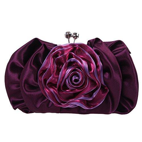Damen Clutch Abendtasche Handtasche Geldbörse Satin Blume Lang Tasche mit wechselbare Trageketten von Santimon(6 Kolorit) Violett