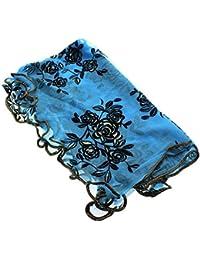 Mousseline soie rose dentelle long Châle foulard écharpe Cappa Light Blue