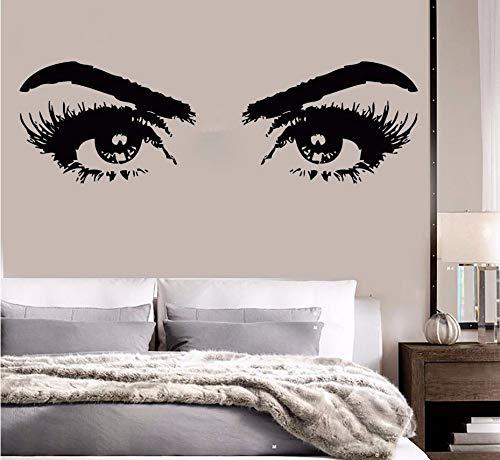 Zxfcczxf Pared Vinilo Mujer Ojos Etiqueta De La Salón De Belleza Ouos Maquillaje Pared Mural Chica Habitación La Pared Del Vinilo Belleza Dekoración Del Salón 136 * 42Cm (De Maquillajes Halloween)