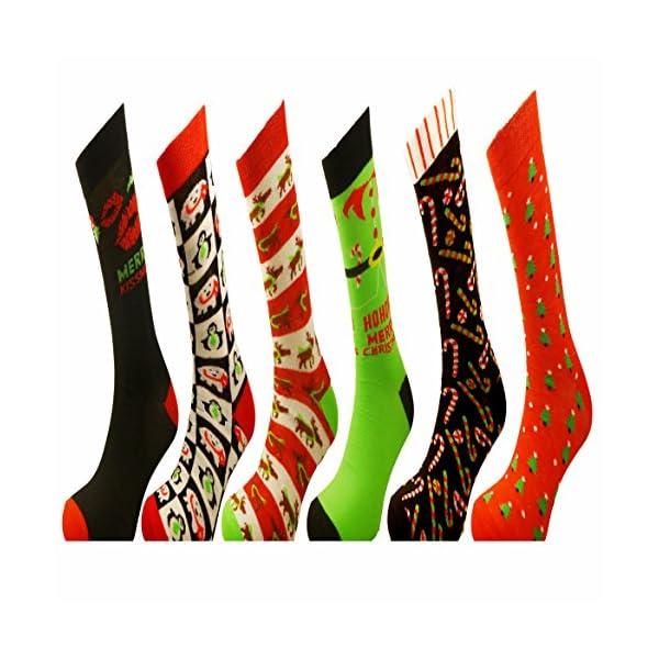 6 Pairs of Mens or Ladies Festive Christmas Socks – Christmas Novelty Xmas Socks – Ideal Stocking Filler 51rimkk4e6L