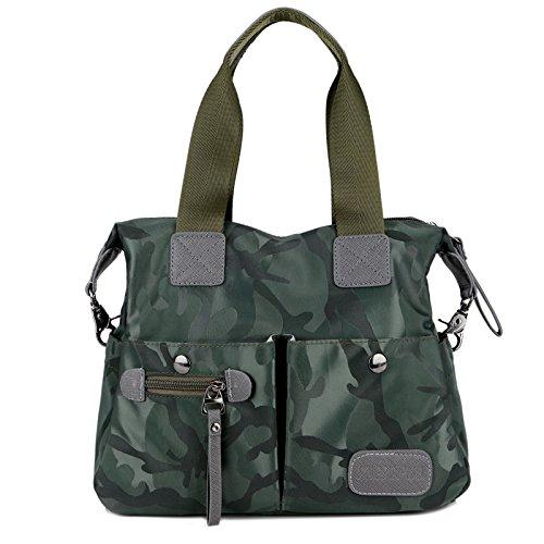 AoBao primavera ed estate nuova donna pacchetto, la signora Han Borsa da viaggio Nylon oxford tessuto borsa di tela a mano spalla bisogno in tutta ampio pacchetto, caffè-fiori colorati - Medio Piccolo Camouflage green