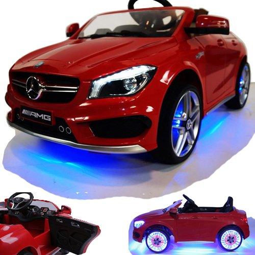 CROOZA - MERCEDES Mercedes-Benz CLA 45 AMG viele LED Effekte Soft Start Kinderauto Kinderfahrzeug Kinder Elektroauto -rot-