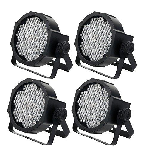 4 x Showlite FLP-144W Flatline Panel LED Scheinwerfer SET (PAR Strahler, Discolicht, Bühnenbeleuchtung, Lampe, 144 LED/RGBW mixing, Anschlüsse: DMX In/Out, 6 DMX Modi) -