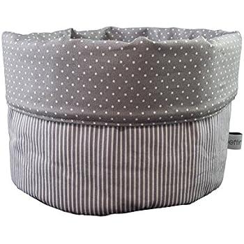 Kleine Eulen weiß türkis grau Brotkorb Utensilo Stoffkörbchen Ø 18 cm