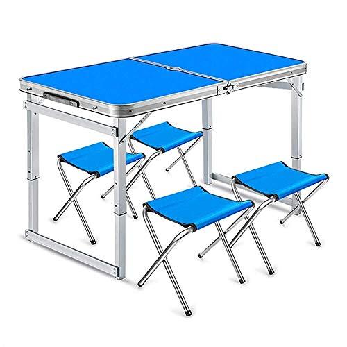 NISHANG Klappstuhl, 4 Klapp-Picknicktisch, 4 Stühle, 5 Klapptische, Tragbarer Outdoor-Tisch Und Stuhl Höhenverstellbar, Geeignet for Outdoor-Camping, Picknick, Grill, Party Dining - Blau -